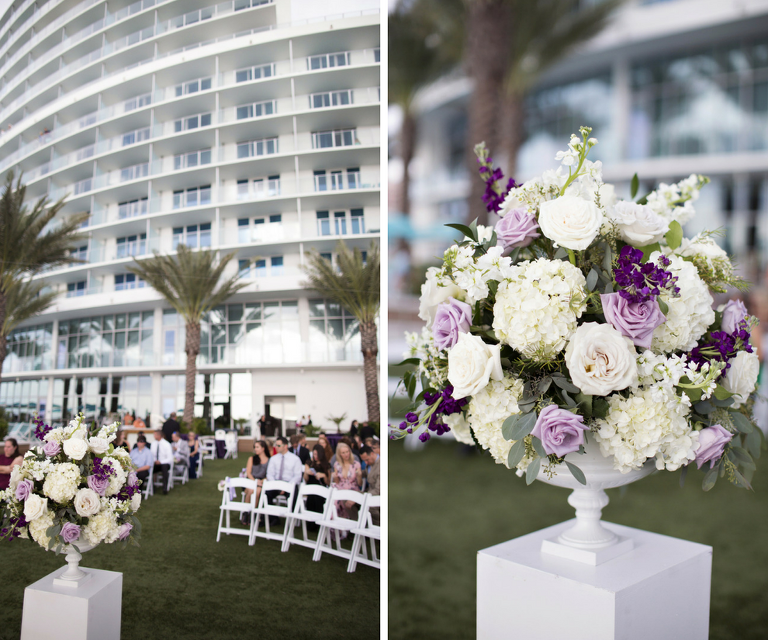 Outdoor Waterfront Garden Wedding Ceremony with White, Purple and Lavender Flowers Decor | Clearwater Beach Wedding Planner Special Moments Event Planning