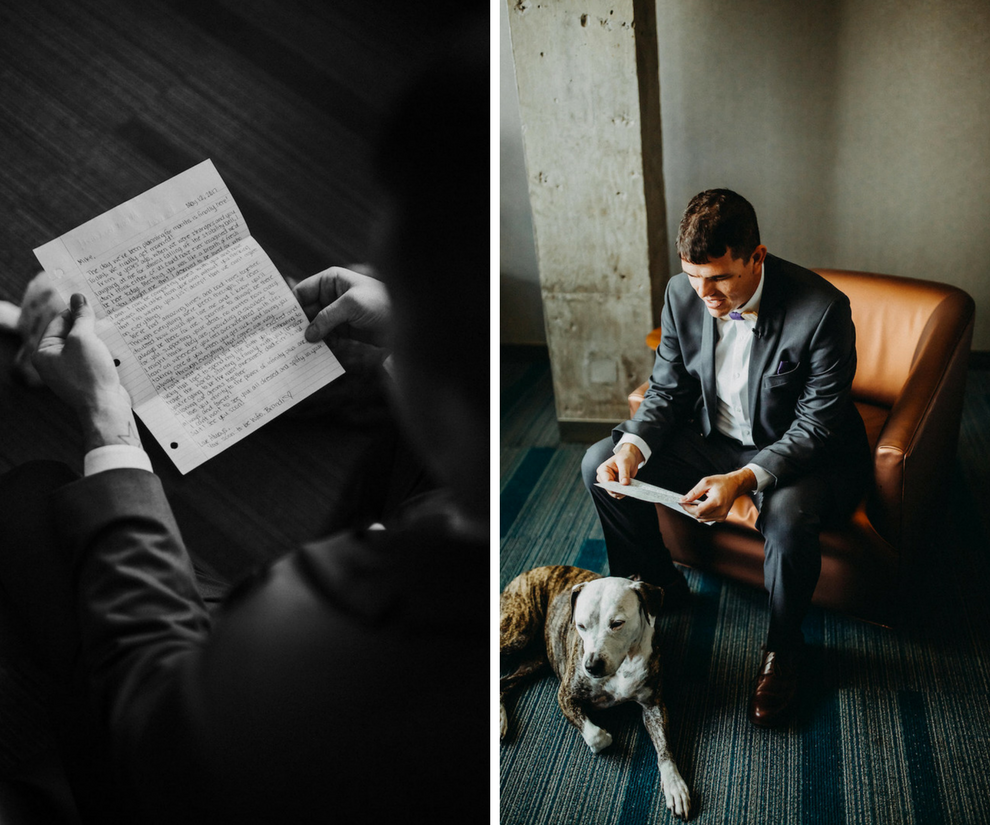 Groom Getting Ready Portrait on Wedding Day Reading Letter From Bride with Dog   Tampa Bay Wedding Photographer Rad Red Creative