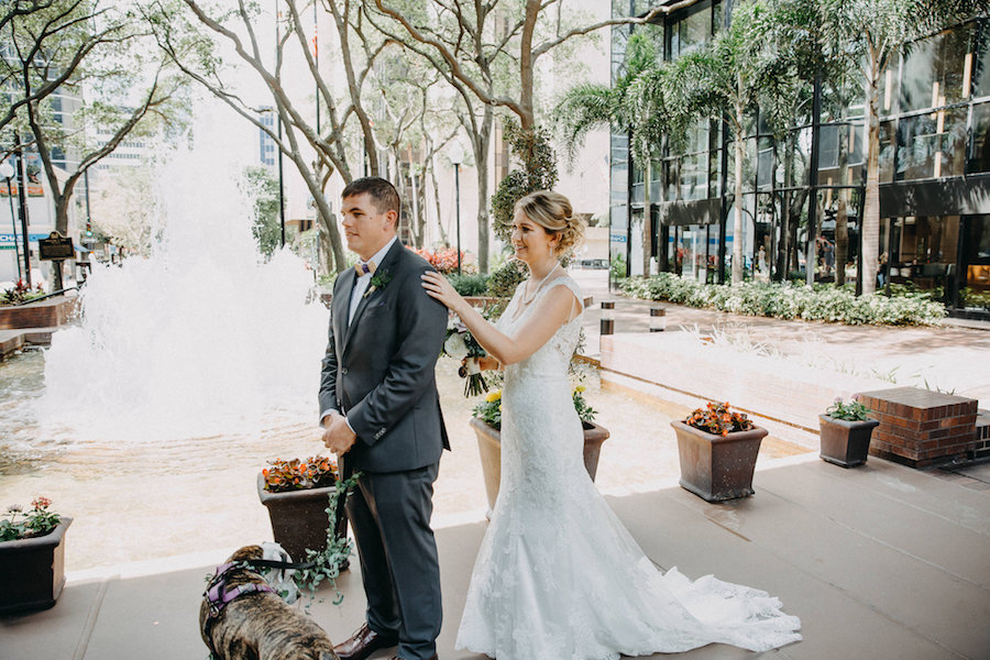 Bride and Groom First Look Wedding Portrait   Tampa Bay Wedding Photographer Rad Red Creative   Downtown Tampa Hotel Venue The Hyatt