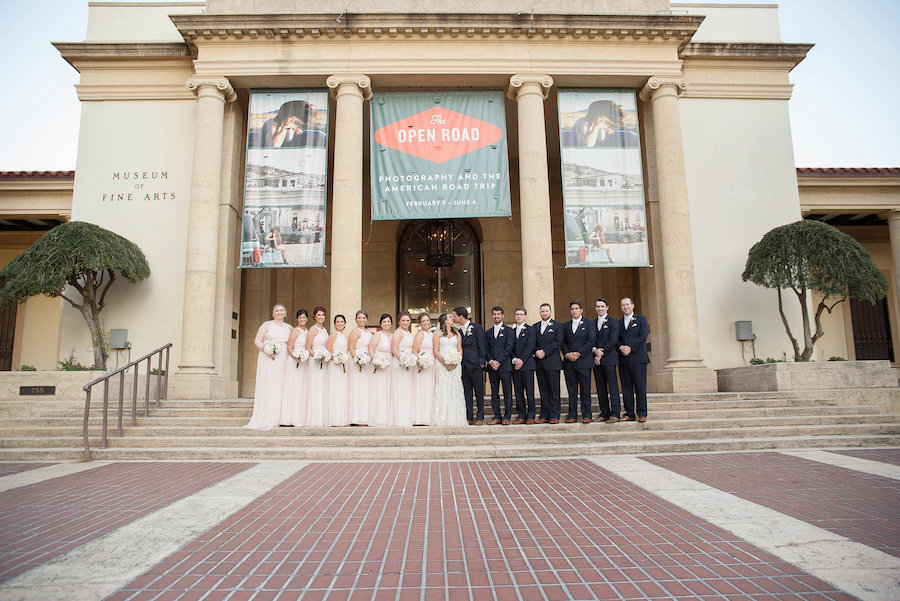 Outdoor Wedding Bridal Party Portrait with White and Blush Rose Bouquets | Tampa Bay Photographer Kristen Marie Photography | St Petersburg Wedding Venue Museum of Fine Arts St Pete