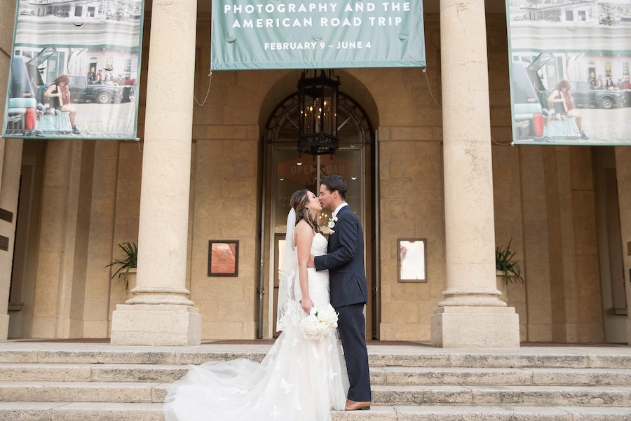 Outdoor Portrait of Bride and Groom with White and Blush Rose Bouquets | Tampa Bay Wedding Photographer Kristen Marie Photography