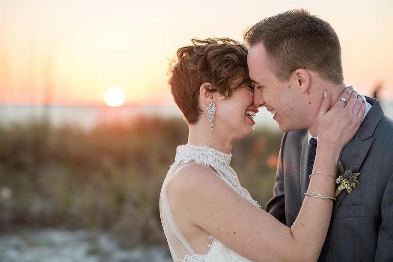 Tampa Bay Wedding Photographer Caroline and Evan Photography | Sunset Bride and Groom Wedding Portrait