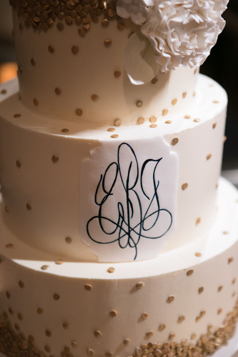 Detail Photo of Bride and Groom Monogram Initials on White and Gold Wedding   Tampa Bay Cake Baker Hands on Sweets