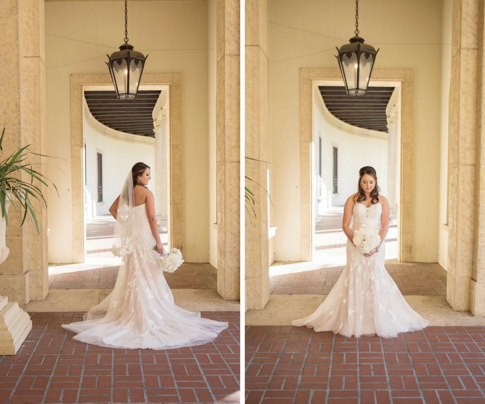 Bride Portrait in Sweetheart Lace Stella York Wedding Dress | St Petersburg Wedding Venue Museum of Fine Arts St Pete | Tampa Bay Photographer Kristen Marie Photography
