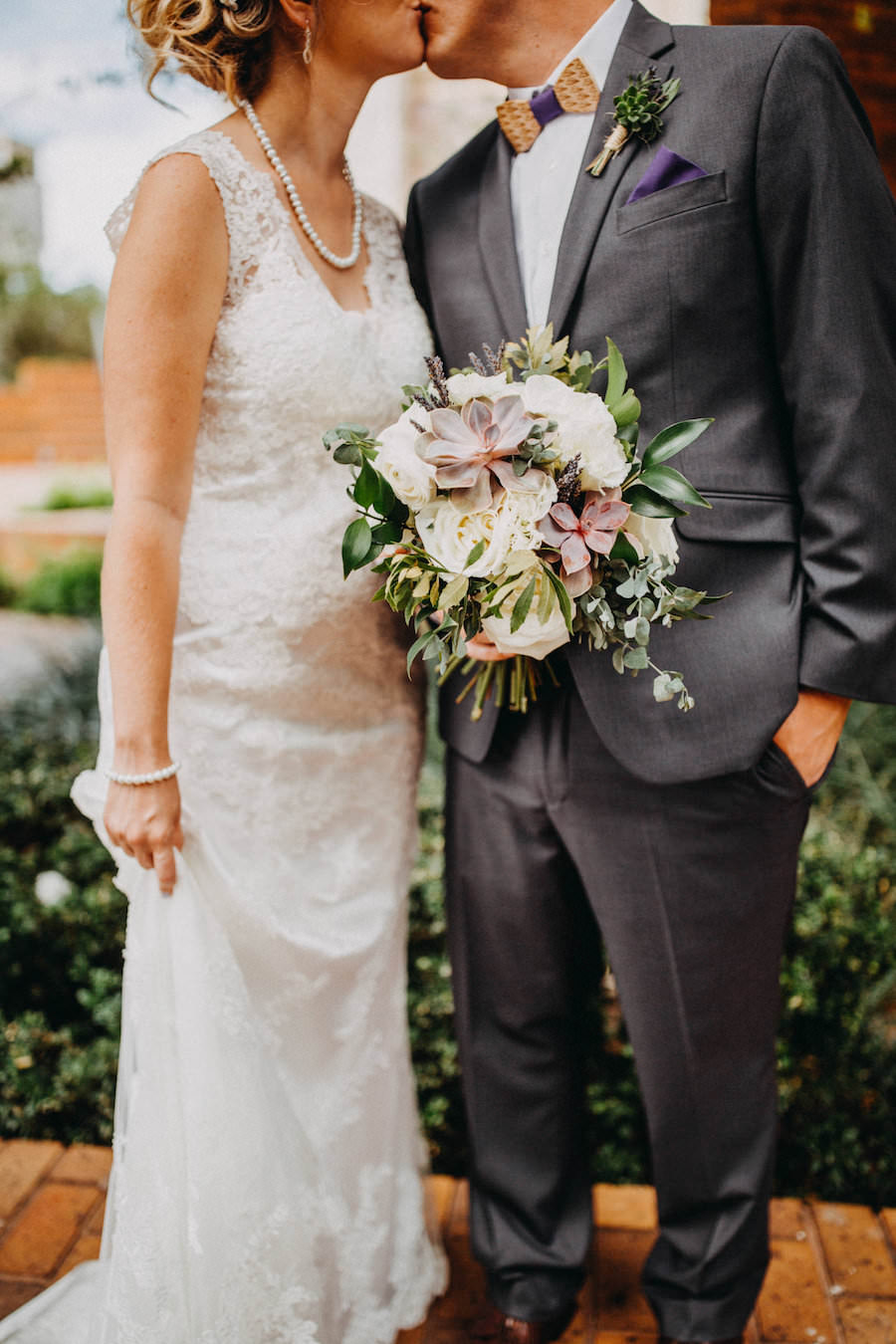 Bride and Groom Wedding Portrait with White Organic Bouquet with Greenery   Tampa Bay Wedding Photographer Rad Red Creative