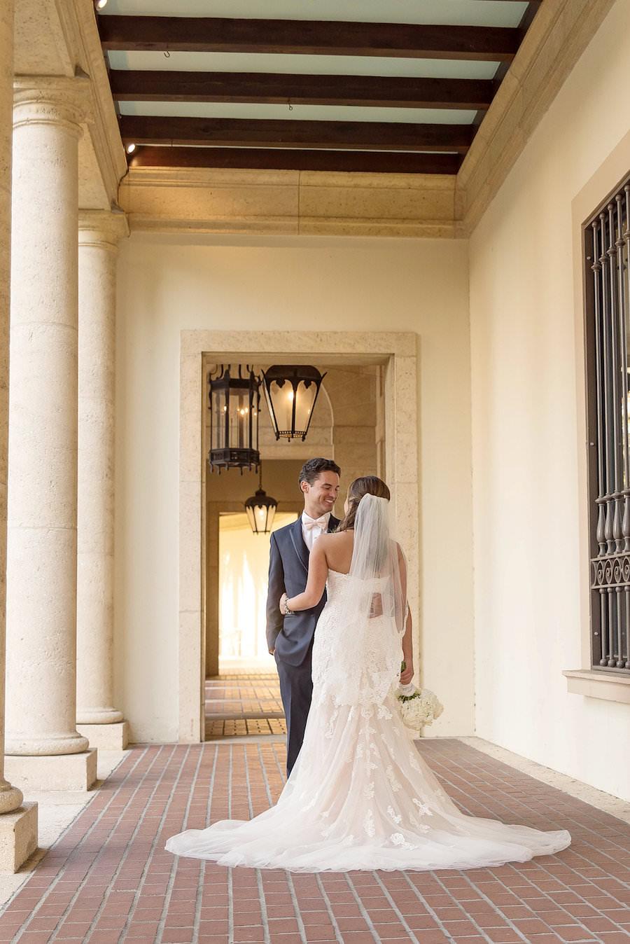 Bride and Groom Wedding Portrait in Sweetheart Lace Stella York Wedding Dress | St Petersburg Wedding Venue Museum of Fine Arts St Pete | Tampa Bay Photographer Kristen Marie Photography