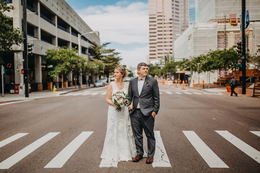 Downtown Tampa Bride and Groom Wedding Portrait on City Street   Tampa Bay Wedding Photographer Rad Red Creative