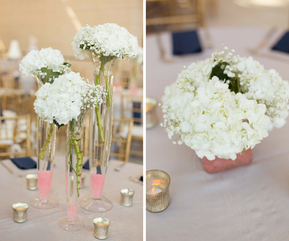 Modern Elegant Wedding Reception Table Decor with Tall and Low Centerpieces of White Hydrangeas, Blush Linens and Silver Mercury Votive Candle Holders