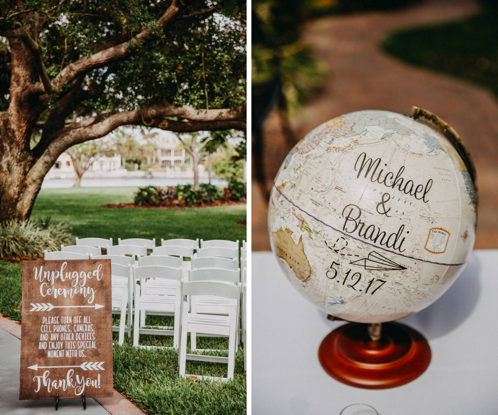 Wooden Unplugged Ceremony Sign and Globe Guestbook Decor   Travel Themed Outdoor Garden Wedding Inspiration