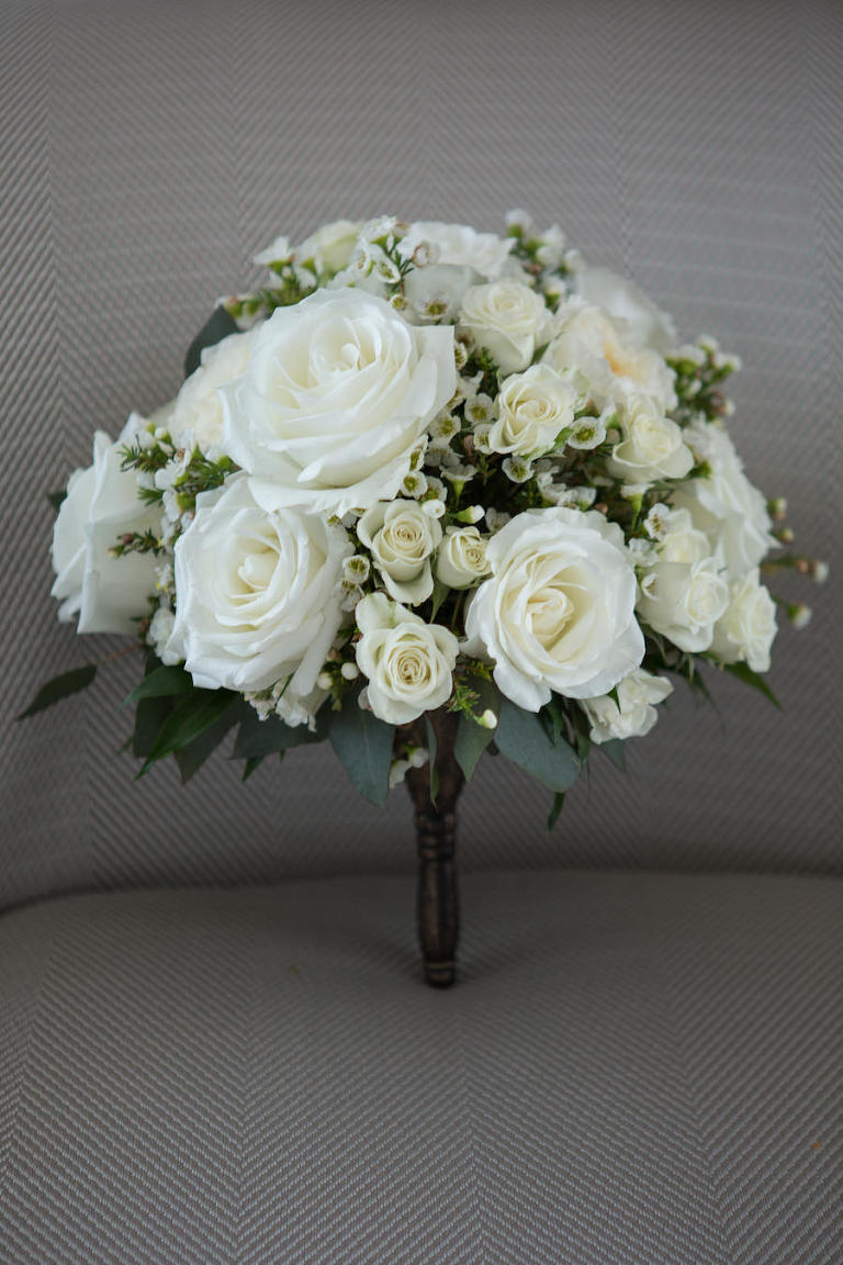 Classic White Rose and Greenery Wedding Bouquet | Tampa Bay Wedding Florist Northside Florist