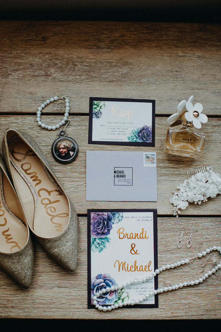 Gold Glitter Sam Edelman Wedding Shoes Flats with Bridal Jewelry with Purple Floral Invitation Suite