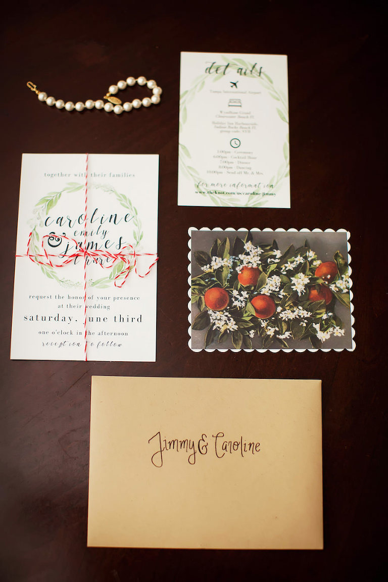 Green and Navy Botanical Citrus Wedding Invitation Suite