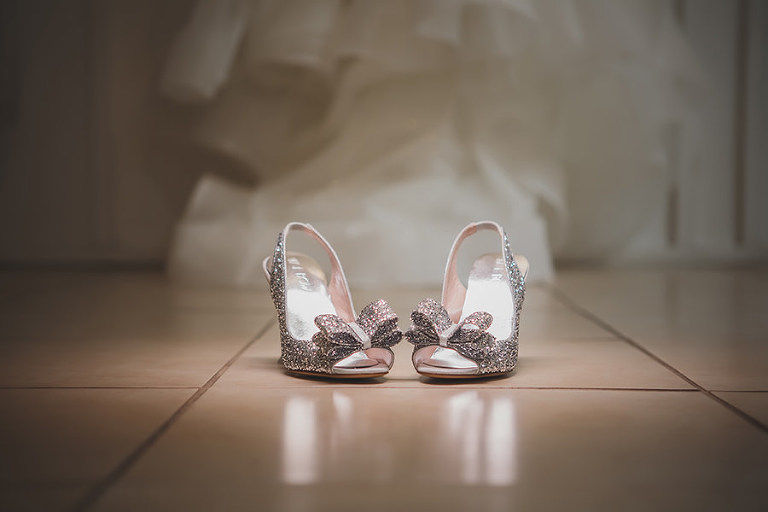 Glittering Silver Peep-toe Wedding Shoes with Bows