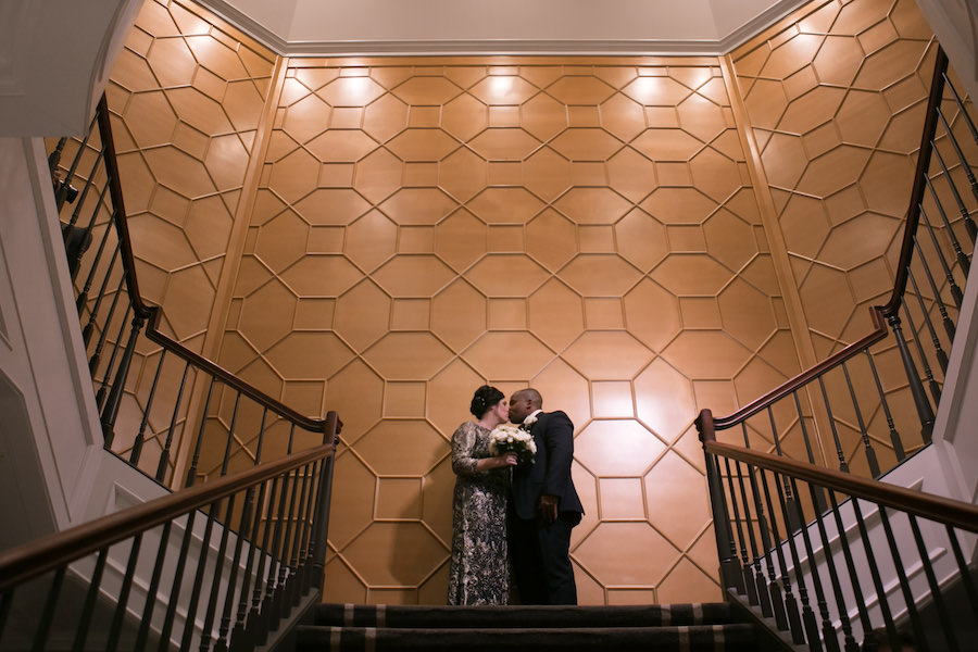 Bride and Groom Wedding Portrait Against Gold Geometric Wall | Tampa Bay Wedding Photographer Carrie Wildes Photography | Downtown Venue The Tampa Club