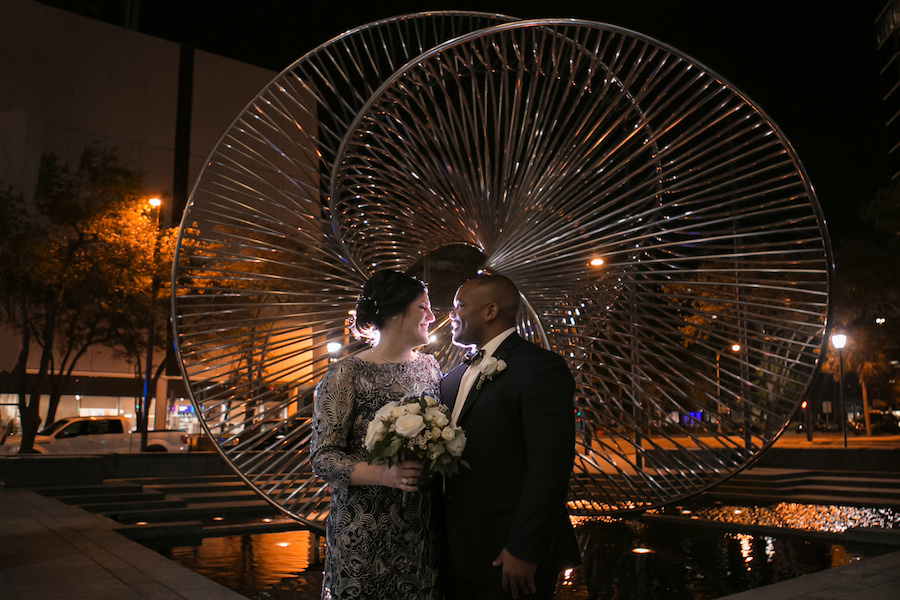 Bride and Groom Nighttime Outdoor Wedding Portrait  Tampa Bay Wedding Photographer Carrie Wildes Photography   Downtown Venue The Tampa Club