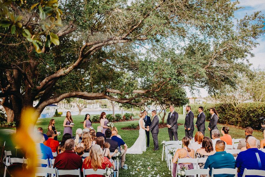 Outdoor Wedding Ceremony   Waterfront Tampa Bay Wedding Davis Islands Garden Club   Photographer Rad Red Creative
