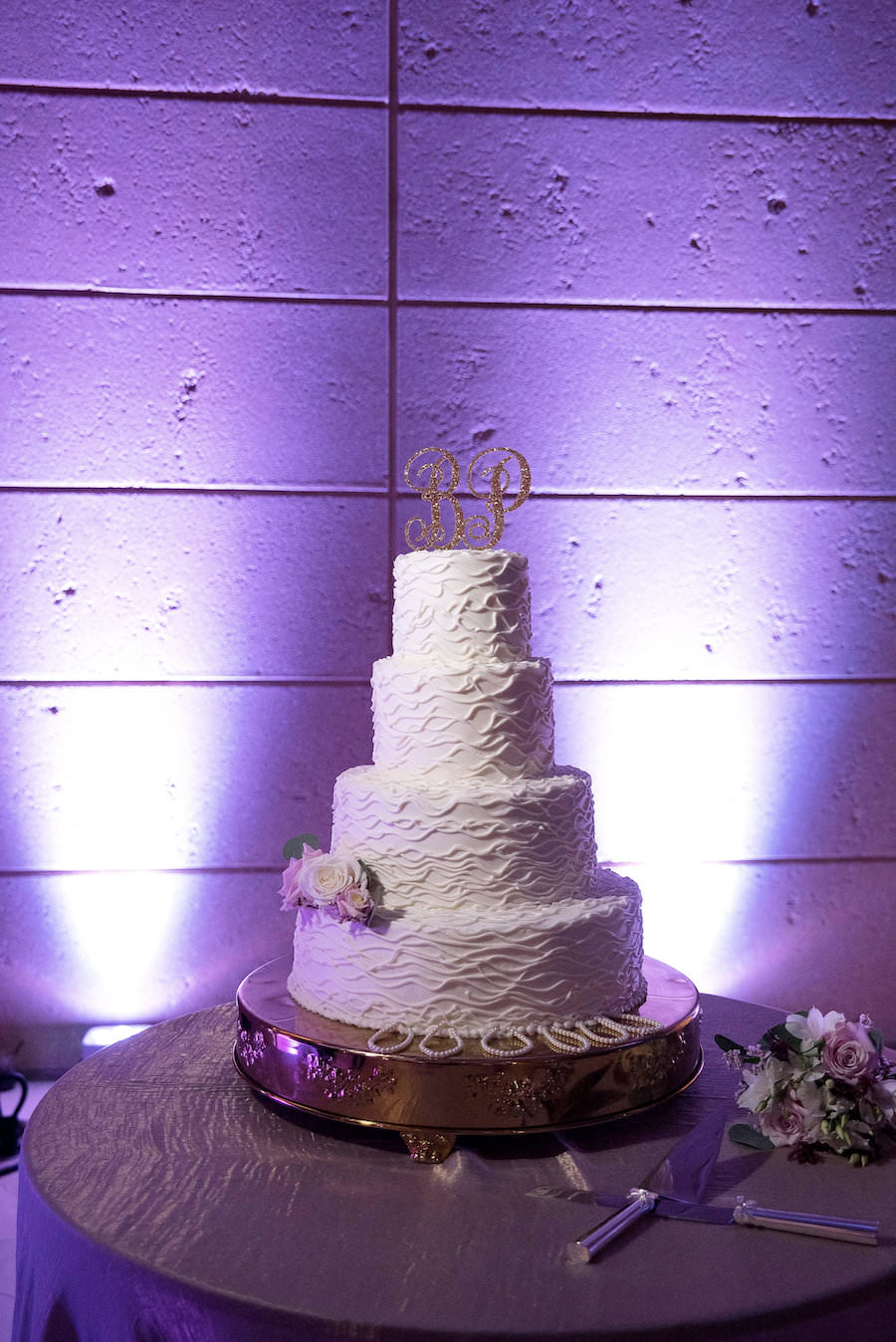 Four Tiered Round White Wedding Cake | Tampa Bay Wedding Cake Bakery Olympia Catering with Initial Topper and White and Blush Roses