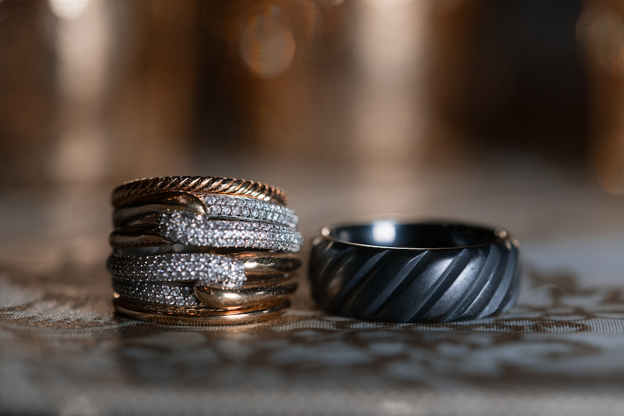 Bride and Groom Gold Wedding Rings and Bands