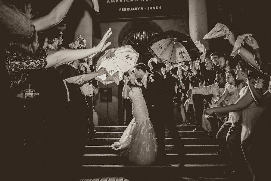 Bride and Groom Wedding Exit Portrait with New Orlean Umbrella | St Petersburg Wedding Photographer Kristen Marie Photography