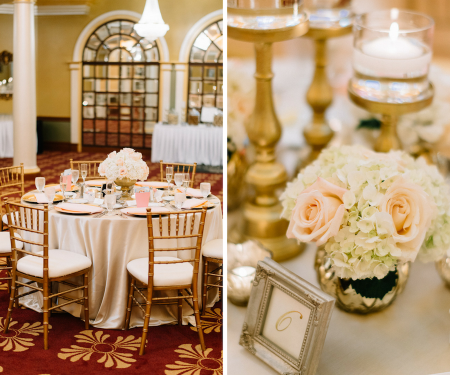 Elegant Gold Ivory and Blush Wedding Reception Decor at Tampa Bay Wedding Venue Safety Harbor Resort & Spa with Gold Chiavari Chairs, Low White Floral Centerpieces, and Gold Candleholders with Glass Votives | Tampa Bay Wedding Planner Special Moments Event Planning | Signature Event Rentals