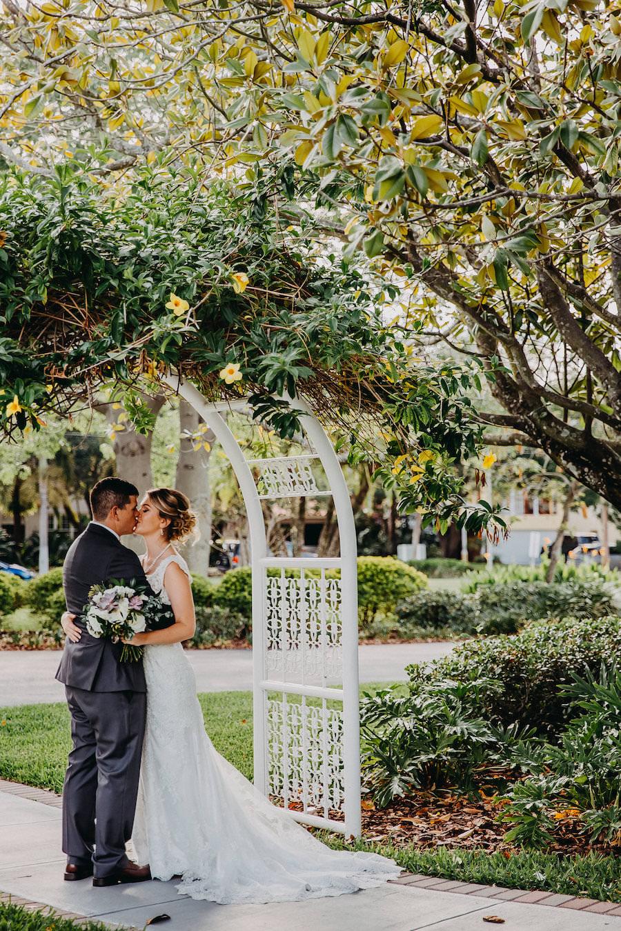 Bride and Groom Wedding Garden Portrait   Tampa Bay Wedding Photographer Rad Red Creative   Waterfront Venue Davis Islands Garden Club