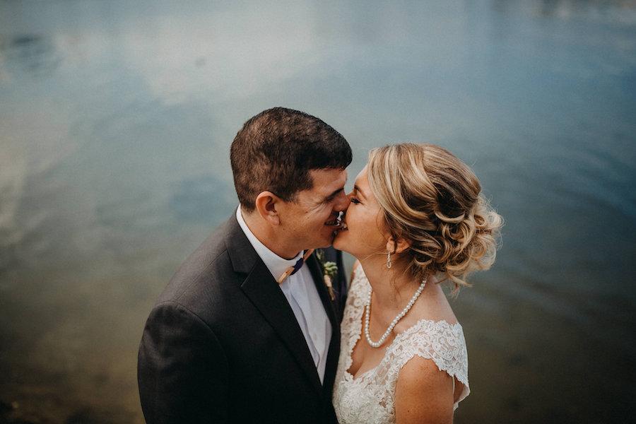 Bride and Groom Waterfront Florida Wedding Portrait   Tampa Bay Wedding Photographer Rad Red Creative