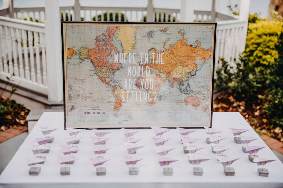 World Map Wedding Guest Book with Airplane Place Cards   Travel Themed Wedding Ideas and Inspiration