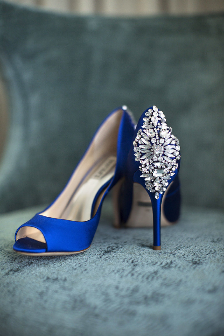 Manolo Blahnik Royal Blue Wedding Shoes with Rhinestones