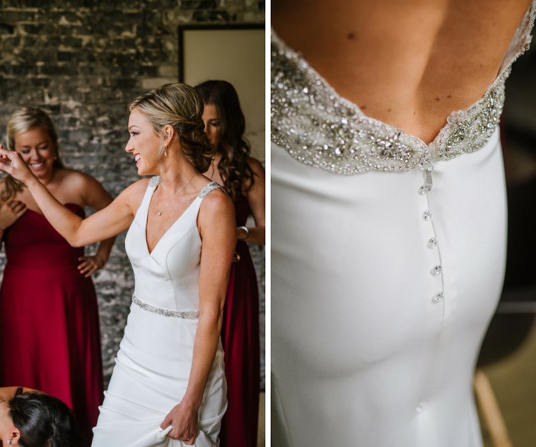 Bride Getting Ready Portrait with Beaded Backless Martina Liana Wedding Dress and Bordeaux Bridesmaids Dresses
