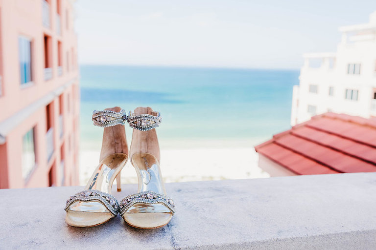 Florida Beach Wedding Bejeweled Open Toe Kitten Heel Shoes
