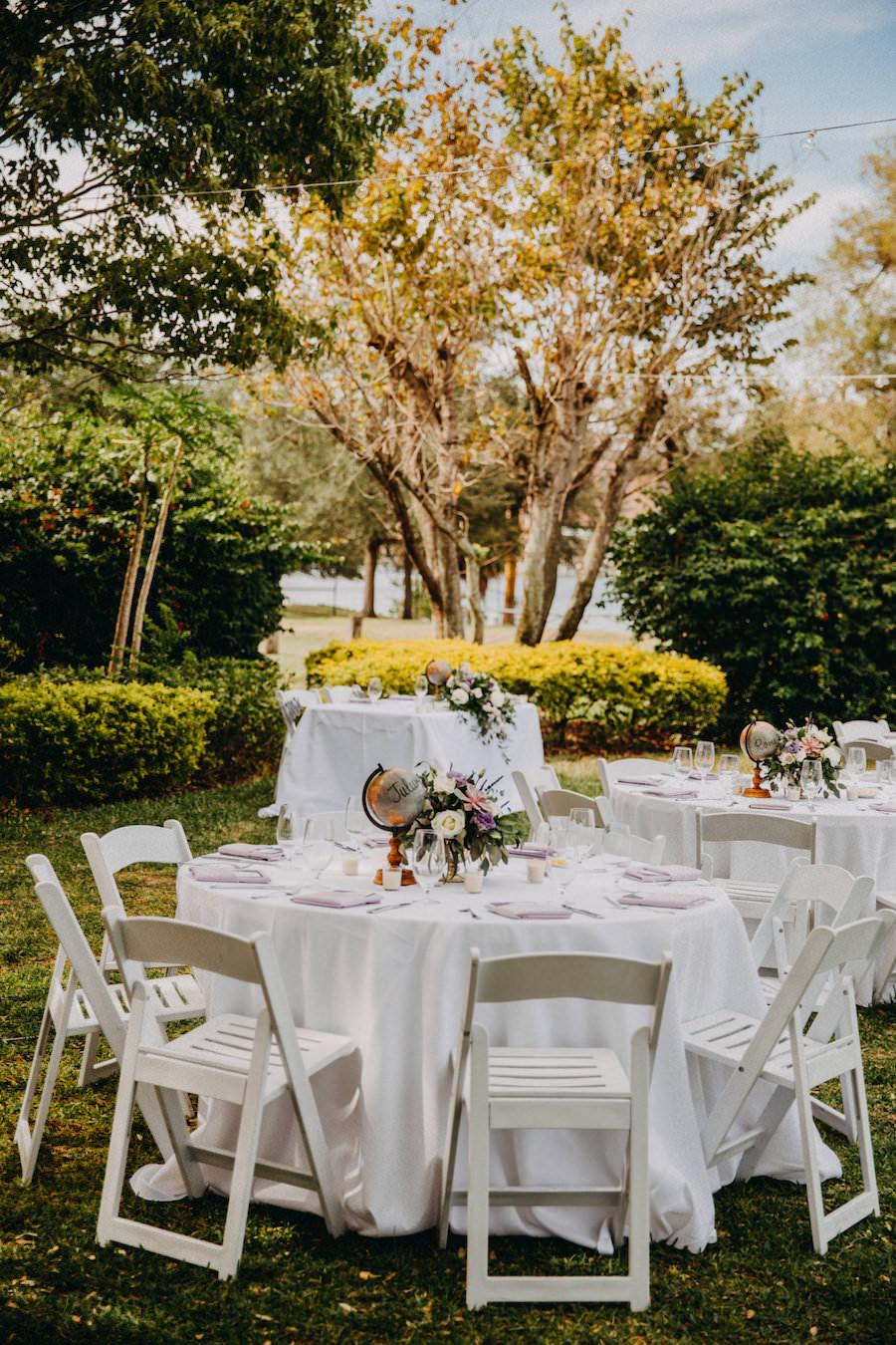 White Garden Wedding Reception Decor with Folding Chairs   Outdoor Tampa Bay Garden Wedding Venue Davis Islands Garden Club