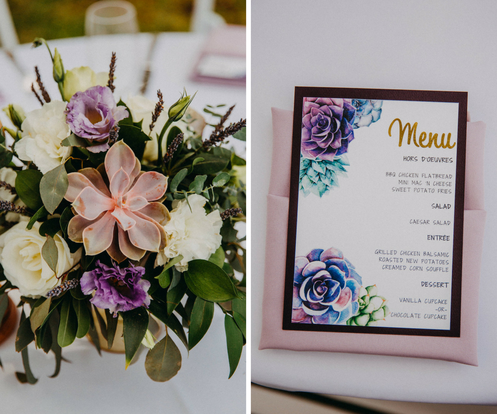 Outdoor Garden Wedding Reception Decor with Purple and White Flowers and Succulent Centerpieces and Floral Menu Card with Blush Pink Napkin