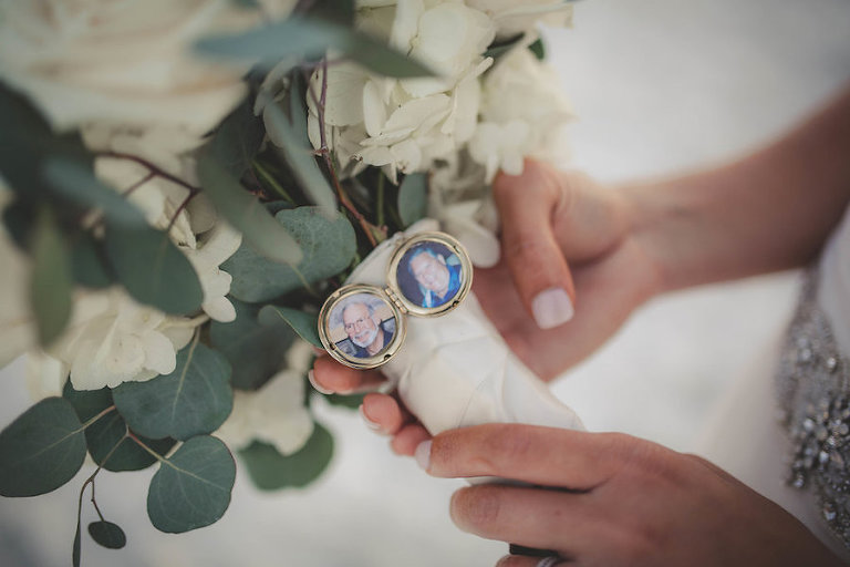 White Floral and Greenery Wedding Bouquet with Memory Charm Locket