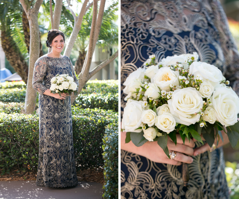 Outdoor Garden Bridal Portrait wearing Embroidered Navy Vintage Inspired Lace Dress by Tadashi Shoji with White Rose and Greenery Wedding Bouquet by Northside Florist   Tampa Bay Photographer Carrie Wildes Photography