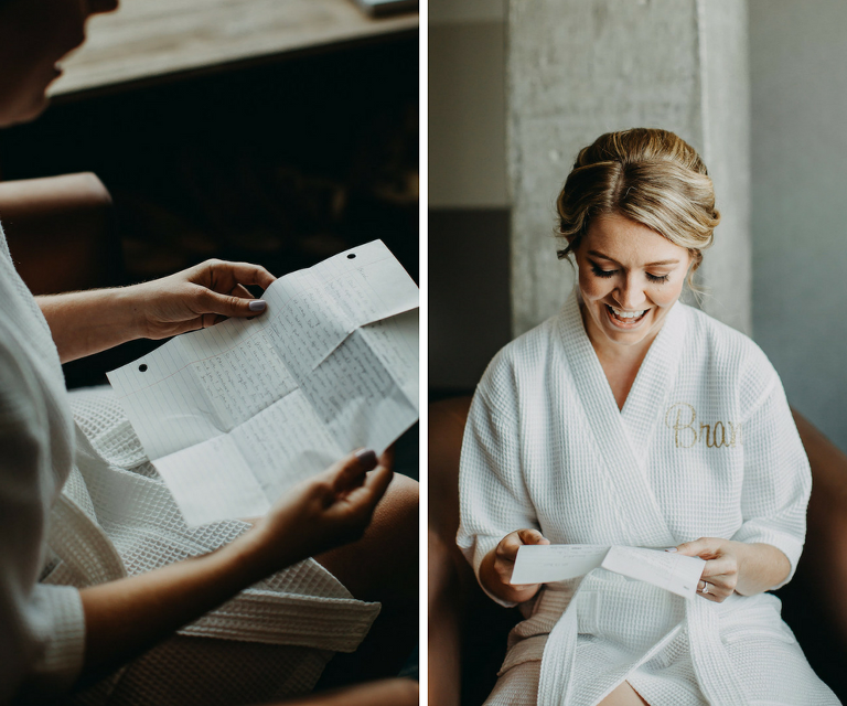 Bride Getting Ready Portrait on Wedding Day Reading Letter From Groom | Tampa Bay Wedding Photographer Rad Red Creative
