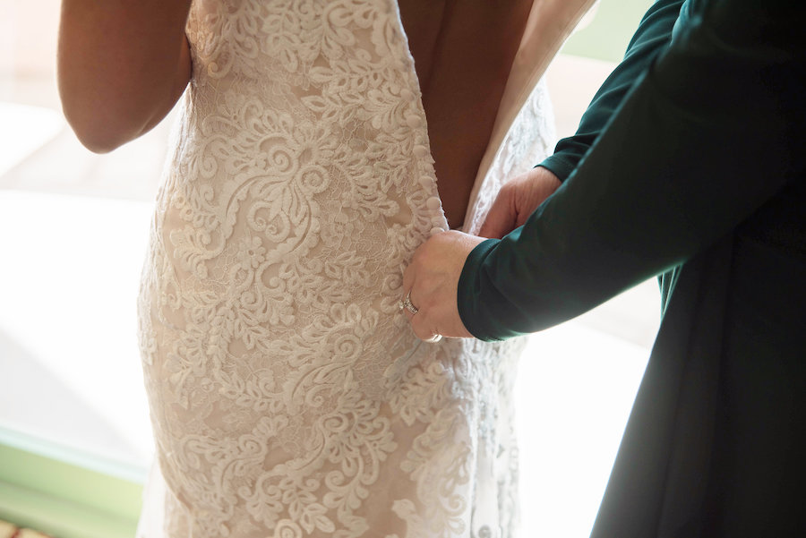Bride Getting Dressed Wedding Photo | St Petersburg Wedding Photographer Kristen Marie Photography
