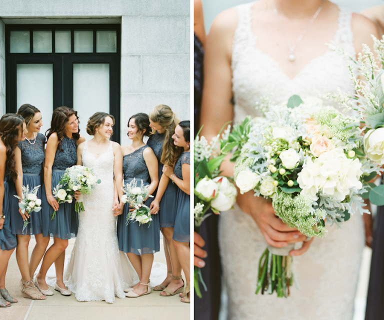 Outdoor Bridal Party Portrait with White Pink and Blue Bouquet with Greenery Wearing White Lace Trumpet Wedding Dress and Grey Mismatched Bridesmaids Dresses