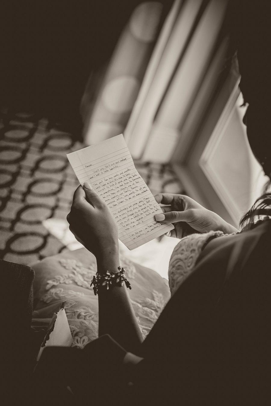 Bride Getting Ready Portrait Reading Letter from Groom wearing Rhinestone Bracelet