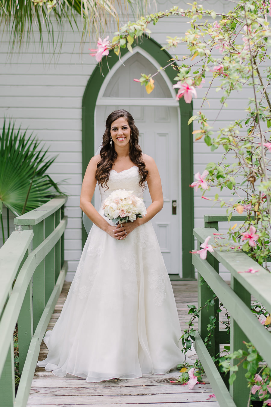 Bridal Portrait Wearing Watters Sweetheart Dress with White Floral Bouquet | Tampa Bay Wedding Ceremony Venue Church Andrews Memorial Chapel