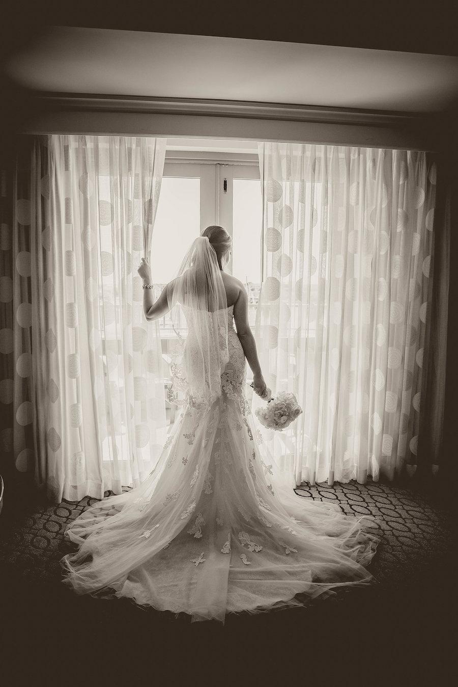 Bridal Wedding Portrait in Stella York Sweetheart Lace Dress | Tampa Bay Wedding Photographer Kristen Marie Photography | St. Petersburg Wedding