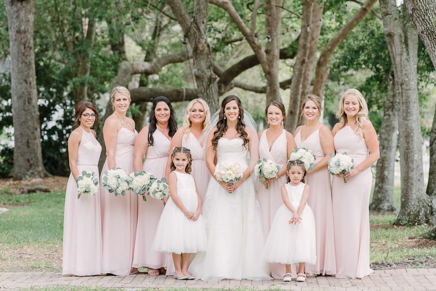 Outdoor Bridal Party Portrait with Mismatched Blush Pink Hayley Paige Bridesmaids Dresses and Flower Girls and Watters Wedding Gown