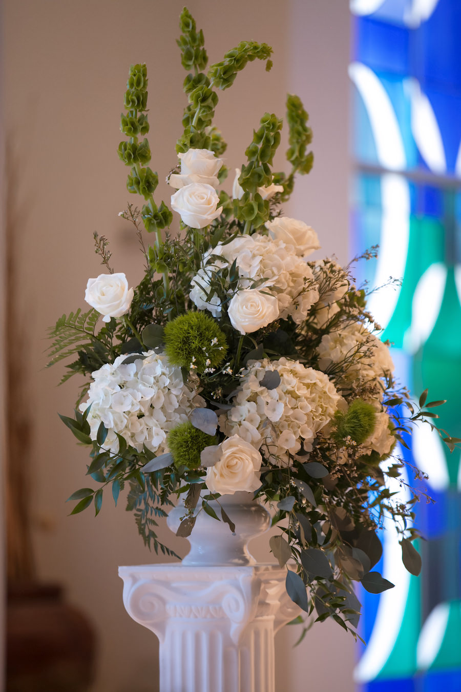 Tall White Rose, Hydrangea, and Greenery Wedding Aisle Ceremony Decor Flowers by Tampa Bay Wedding Florist Northside Florist