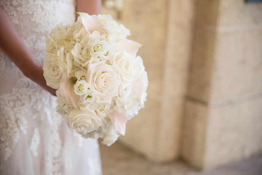 Bride with Blush Pink and White Rose Bouquet by Tampa Bay Wedding Florist Wonderland Floral Art
