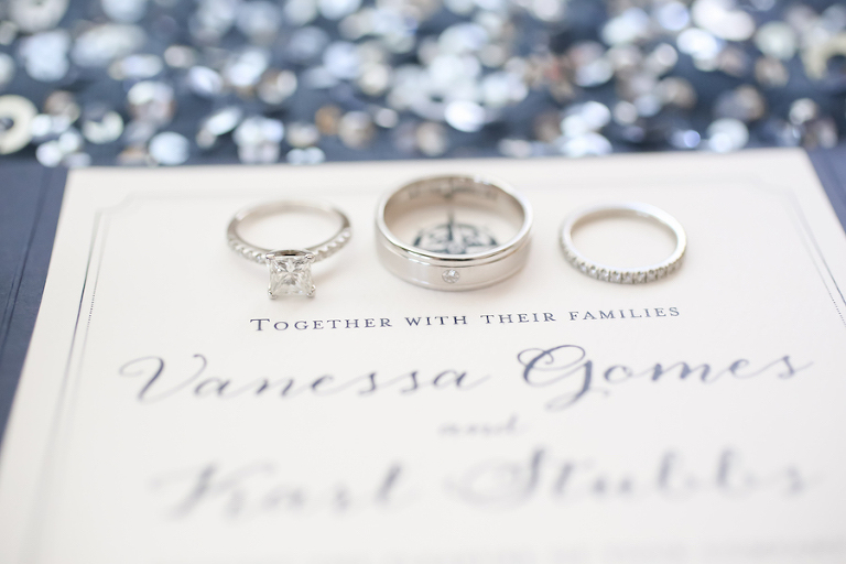 Elegant Navy and White Nautical Wedding Invitation with White Gold Wedding Rings and Bands