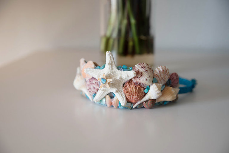 Pastel Seashell Beach Themed Wedding Hair Headband Accessory