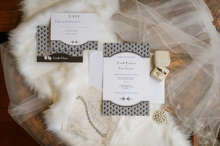 Roaring 20s Themed Black and White Wedding Invitation Suite and Bridal Accessories with Pearl Jewelry and Wedding Band and Engagement Ring