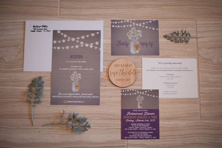 Rustic Purple and Gray Wedding Invitation Suite
