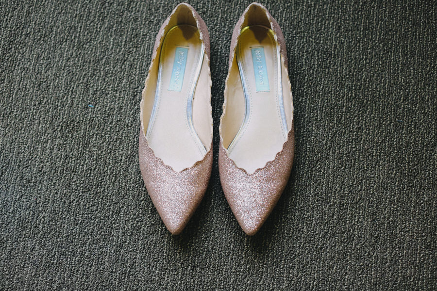 Blush Glitter Wedding Shoes Pointed Toe Flats