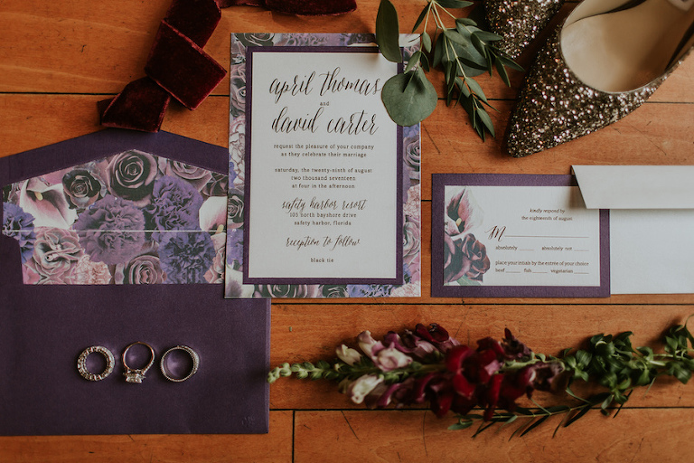 Deep Purple Eggplant Floral Wedding Invitation Suite | Tampa Bay Stationery Shop URBANcoast