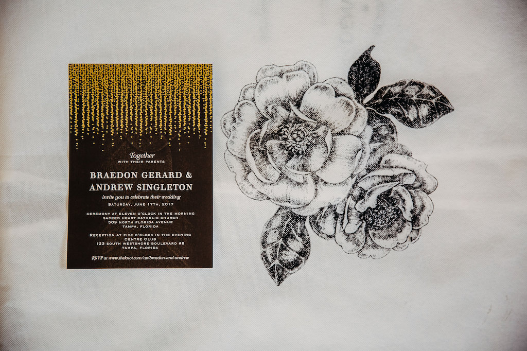 Vintage Glam Inspired Elegant Brown Wedding Invitation with Gold Leaf
